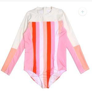 """Swim zip Women's Long Sleeve Surf Suit (1 Piece Body Suit) - """"Peachy Stripes"""""""